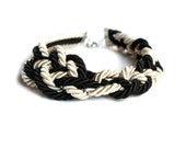 NAUTICAL ROPE NECKLACE. Rope knot necklace, black and white - Nautical Necklace - by Nokike