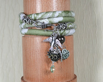 Bohemian wrap around bracelet Sage green India cotton fabric wrap bracelet Wide cuff bracelet Silver charm bracelet Hippie textile jewelry