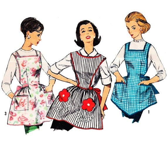 Early 1960s One-Yard Aprons, Transfer Included, One Size, Simplicity 3702