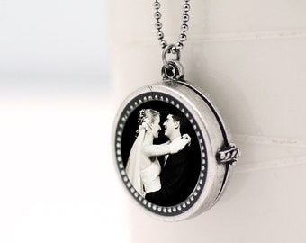 Personalized Photo Locket Antiqued Silver Locket Wedding Photo Locket Silver Picture Locket
