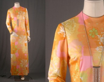 Maxi dress FLoral flowers yellow orange psychedelic bohemian hippie size S small