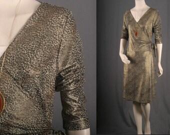 Gold Wrap dress leopard print spots spotted metallic women size M medium