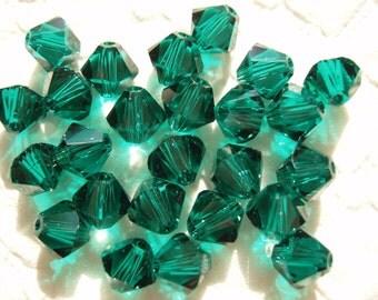 Genuine SWAROVSKI Emerald 5mm BICONE 5301 Austrian CRYSTAL Beads