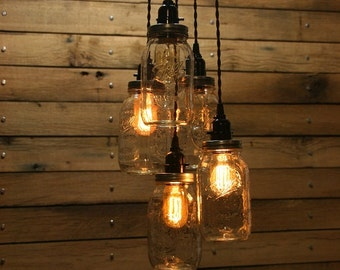 5 Jar Pendant Light - Mason Jar Chandelier Light 3' Hang Down- Quart Mason Jar Hanging Pendant Light