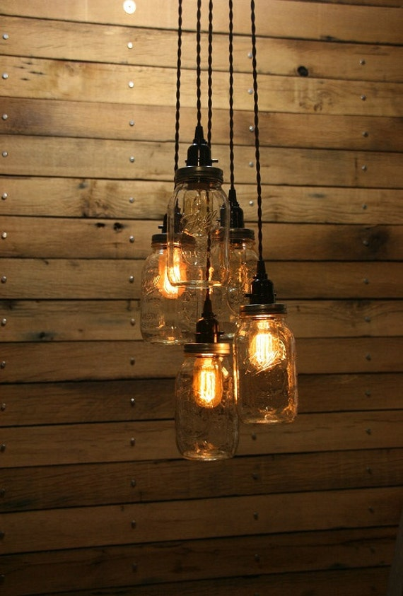 5 jar pendant light mason jar chandelier light 3 39 hang for Hanging lights made from mason jars