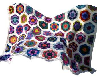 Crochet afghan crochet blanket handmade blanket kaleidoscope hexagons, variation 1, cream border READY TO SHIP