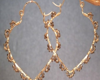 Hammered pointed hoops with brown Andalusite Siren 214