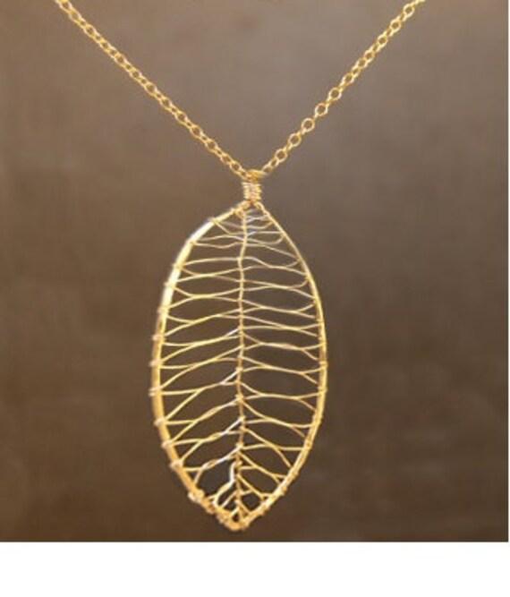 Hammered Leaf Necklace 1-23