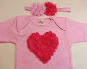 ValentineHot Pink Chiffon Rose Heart Applique on a Pink Short Sleeved Tshirt  and Matching Headband Babies Sizes Newborn to 24 Months