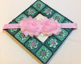 Pink Shabby Chic Flowers on an Shiny Pink Headband, Infant to Adult