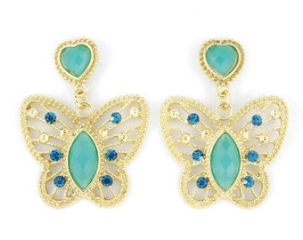 Beautiful Gold-tone Green/Pink/White Stone Butterfly Drop Earrings