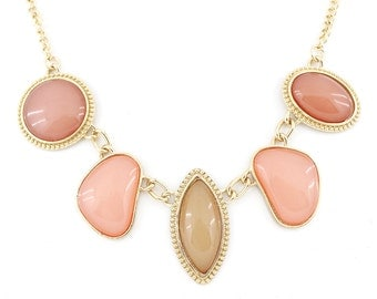 Beautiful Gold-tone Pink Pendant Statement Necklace