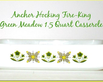 SALE!!!  Vintage Anchor Hocking Fire-King Green Meadow Casserole, Baking Dish, Mid Century Oven Ware