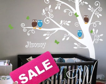 Tree with Owls and Butterflies  - Nursery Wall Decal
