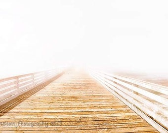 Romatic Ocean Pier Photograph, Dreamy Fog, Hamptons Style, Minimalist, Creamy White Solitude, Home and Office Wall Art fPOE