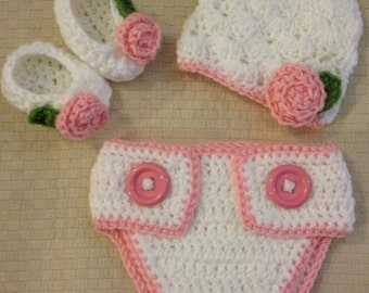 Crochet Newborn Hat with Rose, Diaper Cover and Bootie Set