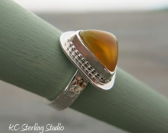 Brilliant Ethiopian opal and sterling silver metalsmithed ring - silversmith