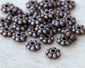Spacer Bead, Antique Copper, 6mm Snowflake - 50 pcs - eTS008AC-6x2