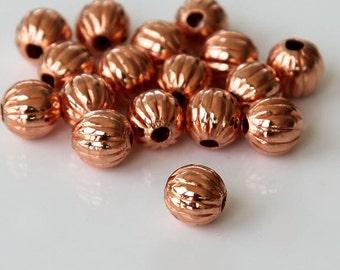 Genuine Copper Beads, 6mm Corrugated Round - 50 pcs - eCRR01C-6