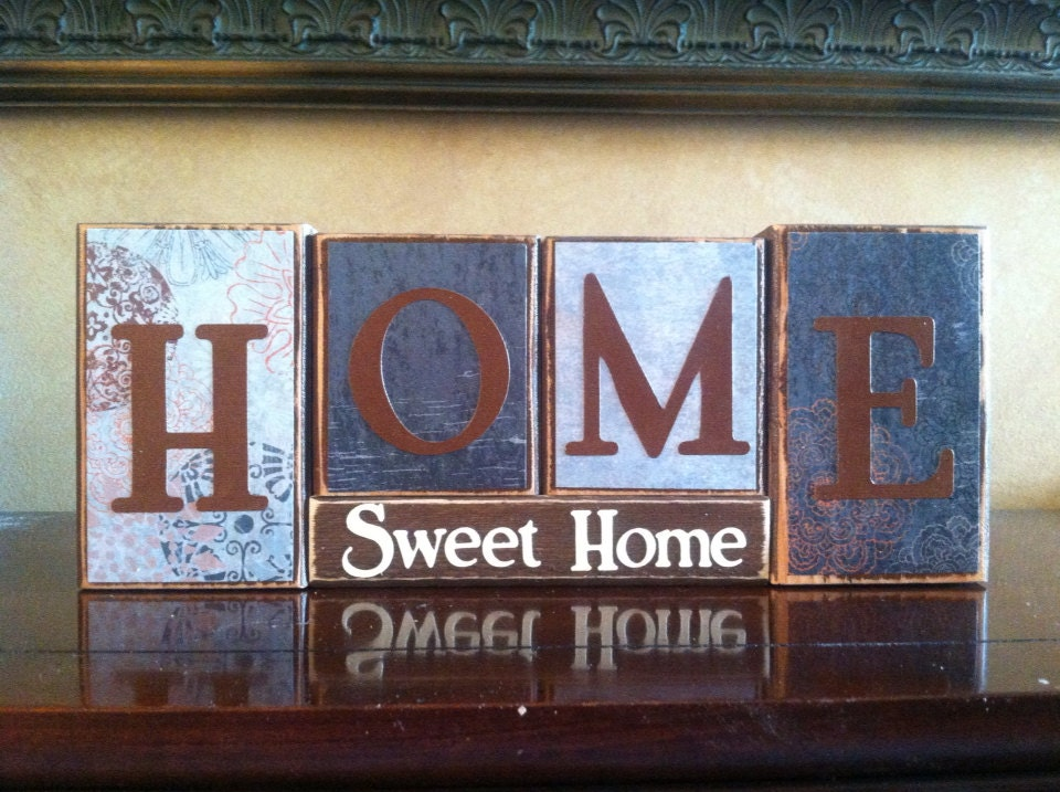 home sweet home wood block sign home decor fireplace. Black Bedroom Furniture Sets. Home Design Ideas