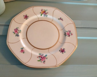 large Vintage Hand painted floral dishes pinks greens blues pastels shabby cottage chic  dinner plates  Marshall Fields by hermina's cottage