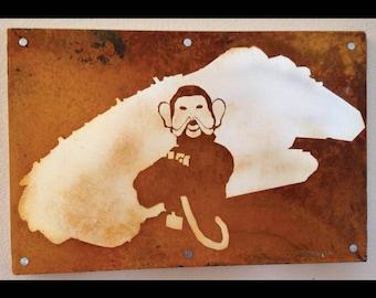 Star Wars Art, Nien Nunb and the Millenium Falcon Custom Art on rusted metal
