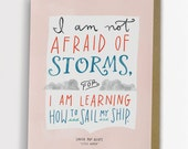 "Little Women ""Not Afraid of Storms"" Inspirational Quote Card 160-C"