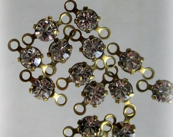 Swarovski Crystal 12SS 3MM Connector Brass 7mm with 2 rings
