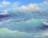 """208 - """"Atlantic Ocean near Bahamas"""", 8""""x 20""""  Gallery Wrap Canvas Giclee print"""