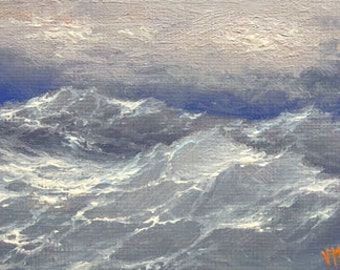 Seascape,  ACEO  original oil painting.