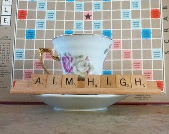 Aim High Scrabble Sign or Nameplate Made to Order