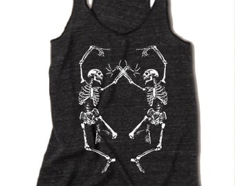 Womens Halloween Dancing SKELETON Tri Blend Tank Top American Apparel Small Medium Large XLarge Racerback