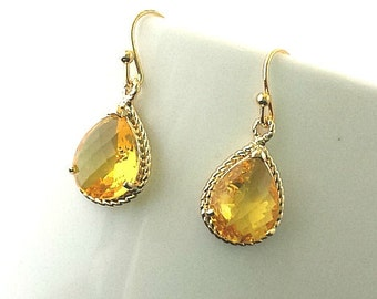 Elegant Yellow Topaz Gold Wedding Earrings,Drop, Dangle, Glass Earrings, bridesmaid gifts,Wedding jewelry