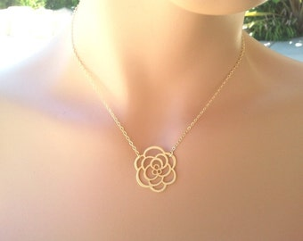 Rose Flower Gold pendant, Necklace, Gold Charm, Mom Gift, Wedding Jewelry, statement necklace, Mom necklace