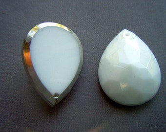 Vintage White Glass Faceted Teardrop Shaped Pendant with Gold Edge x 2    # D 11