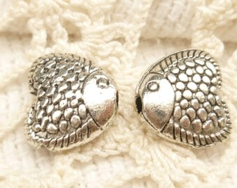 Scaly Heart Fish Spacer Beads, Antique Silver (10) - SF67