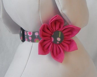 Dog Collar Flower Set - Grey & Pink Circles-Size XS, S, M