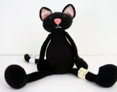 crochet plush cat - black - art doll - amigurumi - for april