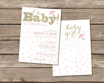 "Pink and Gold ""dots"" Baby Shower Invitation"