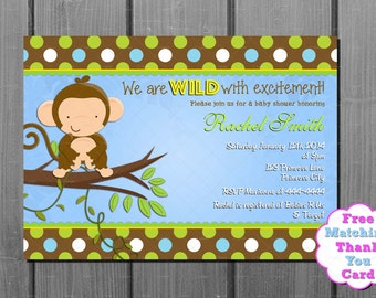 Monkey Boy Baby Shower Invitation and FREE Thank You Card Printable DIY