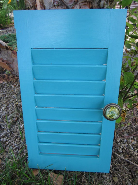 Old Shutter Jewelry Holder or Key Holder Teal Blue with Map inspired Drawer Pull/Knob.  Earring holder