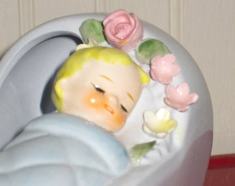 RARE HTF Sweet Lefton Baby Nursery Planter. Hand Painted. Numbered.  Made in Japan.