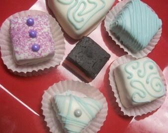 Neapolitan Layered  Cake Truffles  12 hand Made Decadent White Chocolate truffle balls Valentine gift Wedding Favor