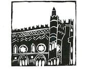Glasgow lino print. Original hand pulled mounted lino print
