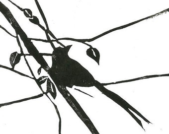 Mounted lino print 'Little Songbird'. Hand pulled lino print