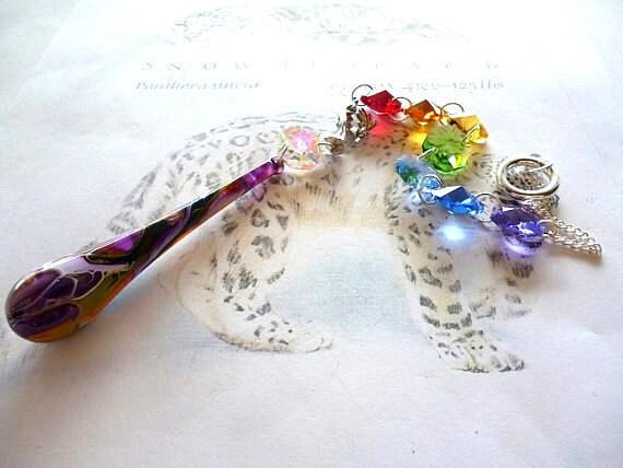 Zodiac Virgo crystal lightcatcher with painted Dragon's Tear glass drop