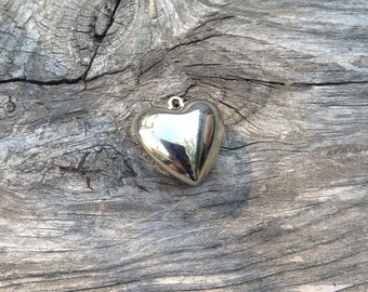 Heart silver bead could be for a necklace, or a pendant, silver charm, old jewelry, silver plated charm, silver heart charm, 3d heart