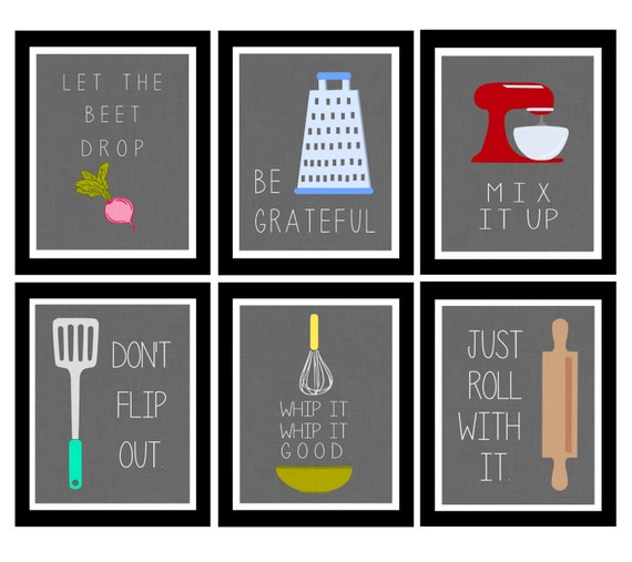 Cute set of six kitchen digital art printables by for Kitchen wall art ideas