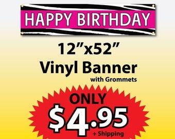 Zebra - Happy Birthday Vinyl Banner