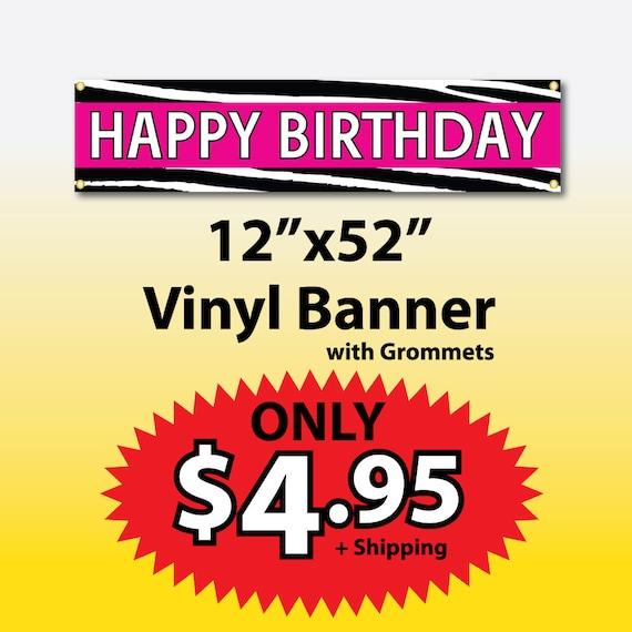 Happy Birthday Vinyl Banner On Etsy
